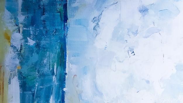 Kunstdetail blauer abstrakter ölgemalter hintergrund. türkisfarbene ölfarbe textur. hintergrund der abstrakten kunst. ölgemälde auf leinwand. ein fragment eines kunstwerks. flecken von ölfarbe. moderne kunst.