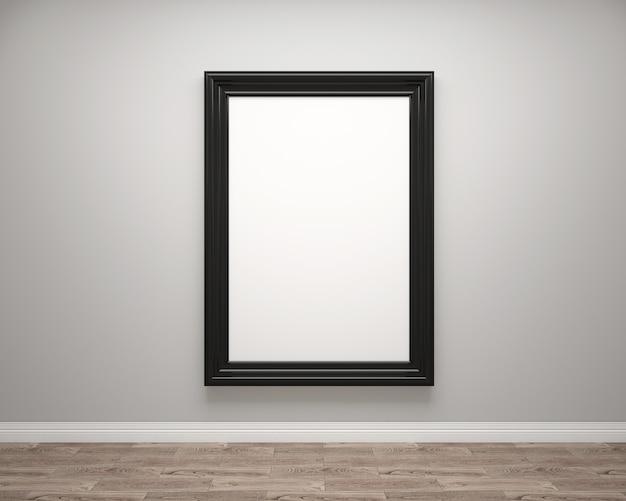 Kunstgalerie-innenraum mit leerem fotorahmen oder grafikrahmen