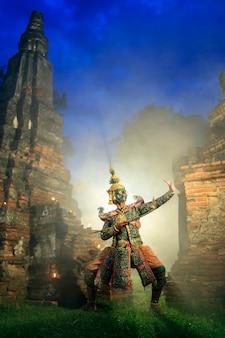 Kunstkultur thailand, das in verdecktes khon in literatur ramayana, thailand-kultur tanzt