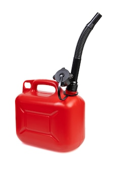 Kunststoff-kraftstoffbehälter isoliert auf weißer oberfläche