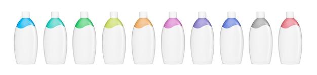 Kunststoff-shampoo- oder gel-flaschen-set, isoliert auf weißem hintergrund