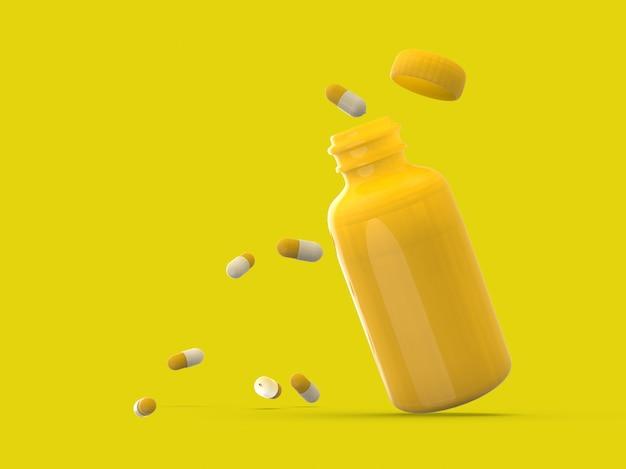 Kunststoffflasche der 3d-darstellung mit medikamentenpille