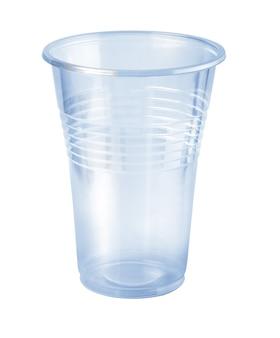 Kunststoffglas isoliert auf weißem hintergrund mit beschneidungspfad