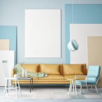 Kunststudio mit einem modellplakat-wohnzimmerdesign