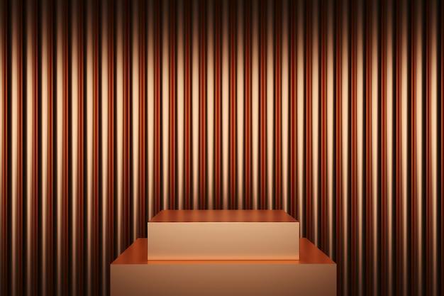 Kupfer-metall-farbbühnen-mock-up-stack-hintergrund für kopienraum. 3d-rendering. minimales ideenkonzeptdesign.