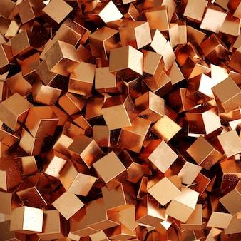 Kupferne zufällige farbe der würfelkastenform-hintergrundansicht von oben. 3d-rendering. minimaler ideenkonzepthintergrund.