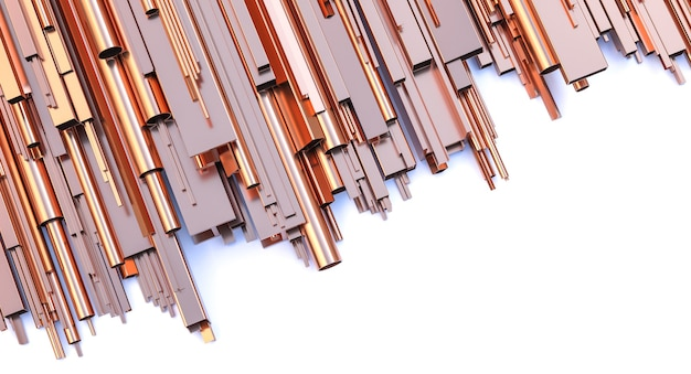 Kupferprofile und rohre auf weißem hintergrund. 3d-rendering