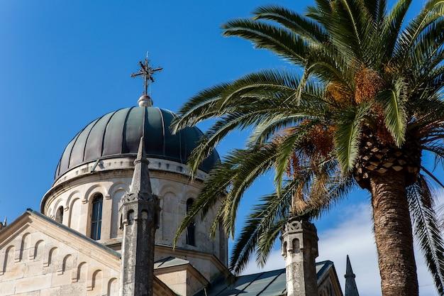 Kuppel der großen kirche im herbst mit palmen
