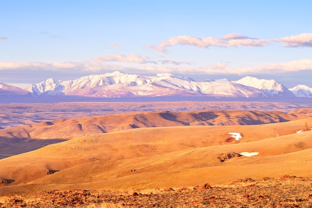 Kurai-steppe im altai-gebirge schneebedeckte gipfel des nord-chui-gebirges