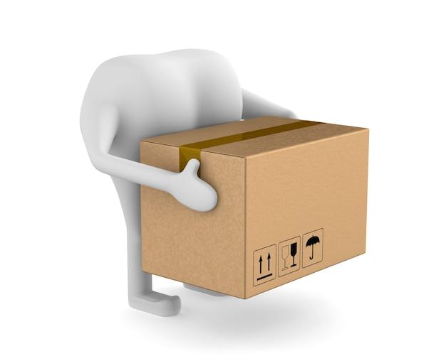 Kurier mit box auf weißem hintergrund. isolierte 3d-darstellung