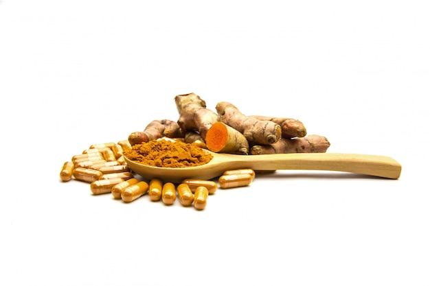 Kurkuma oder curcuma longa kräuterkapsel und pulver