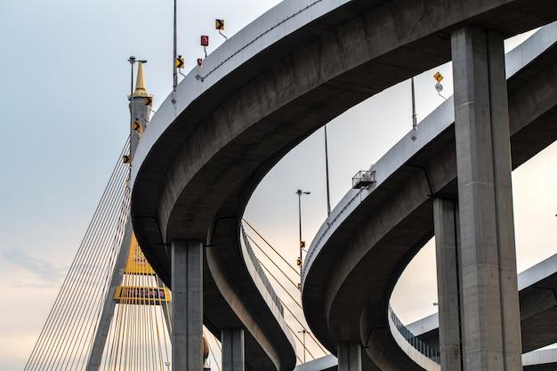 Kurve der hohen wegbrücke