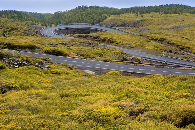 Kurven der grünen kurvenreichen bergstraße