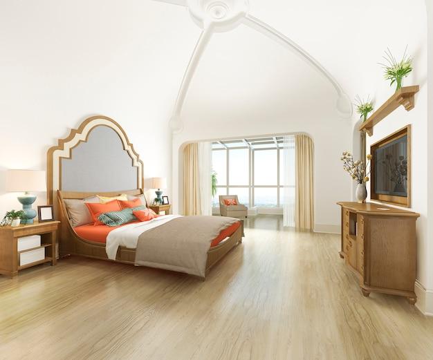 Kurvenhaubenweinlese-schlafzimmersuite der wiedergabe 3d im urlaubshotel und im erholungsort
