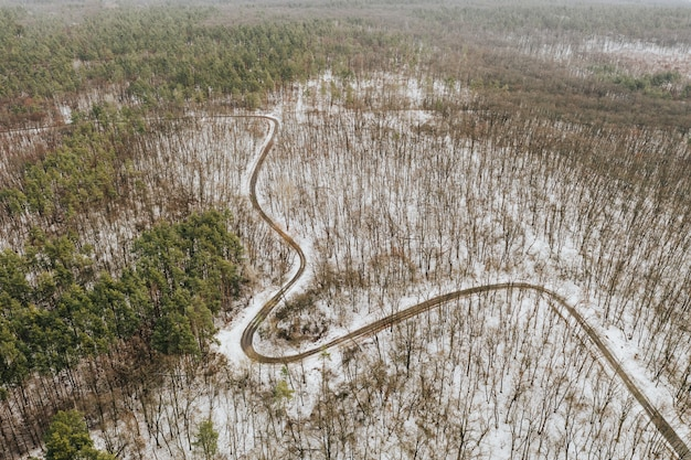 Kurvenreiche straße durch einen schneebedeckten winterwald ohne blätter. foto von drohne.