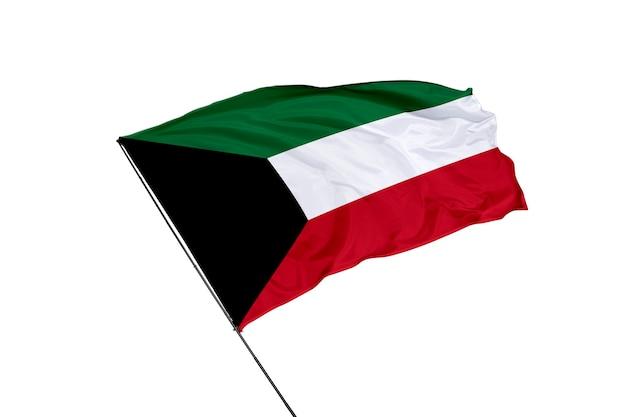Kuwait-flagge auf weißem hintergrund