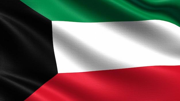 Kuwait flagge, mit wehenden stoff textur