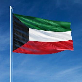 Kuwait-flaggen-fliegen