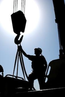Kuwait natur kran silhouette mann schiff