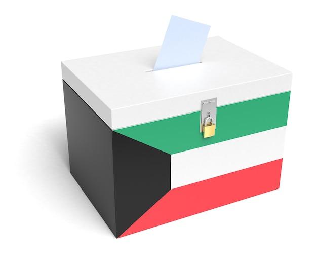 Kuwaitische flagge wahlurne. isolierter weißer hintergrund. 3d-rendering.