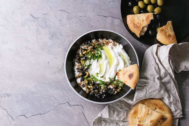 Labneh frischer libanesischer frischkäsedip