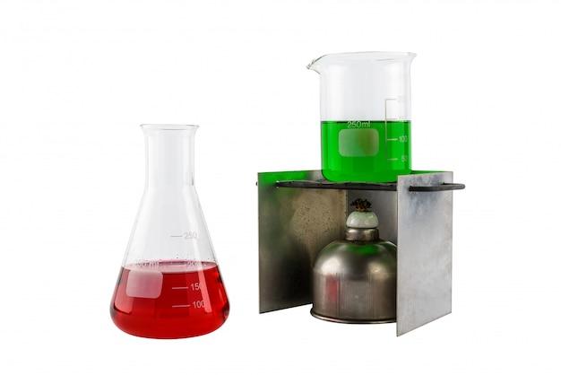 Laborausstattung reagenzglas und alkohollampe, reagenzglas
