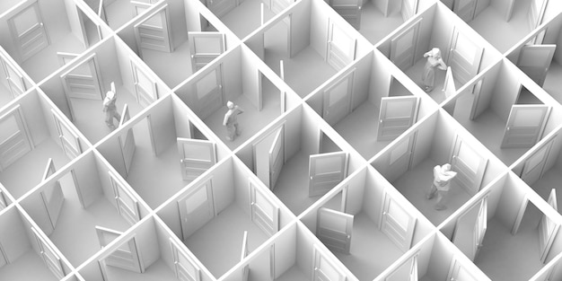 Labyrinth aus offenen und geschlossenen türen mit menschen. platz kopieren. 3d-abbildung.