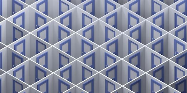 Labyrinth geschlossener türen. platz kopieren. 3d-abbildung.