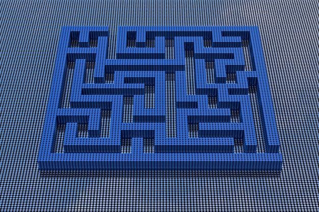 Labyrinth im pixel-art-stil. 3d-rendering