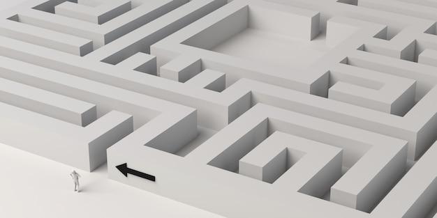 Labyrinth mit person am eingang und pfeil, der den weg weist. 3d-darstellung. banner.