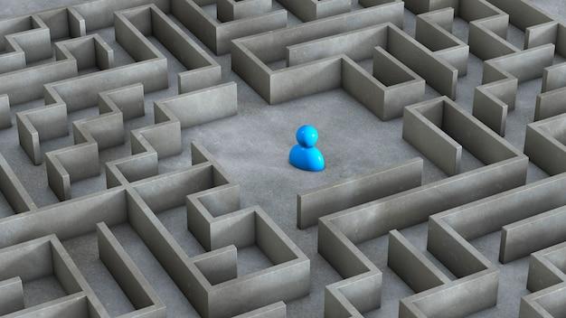 Labyrinth und blauer mann drinnen. 3d rendern.