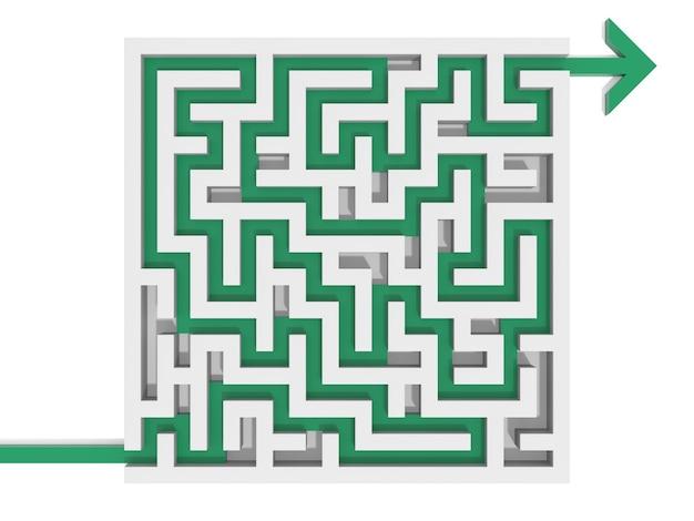 Labyrinthrätsel gelöst. computergerenderte grafik für das geschäftskonzept