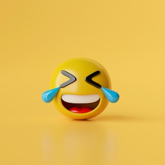Lachendes emoji-symbol auf gelbem hintergrund 3d-darstellung