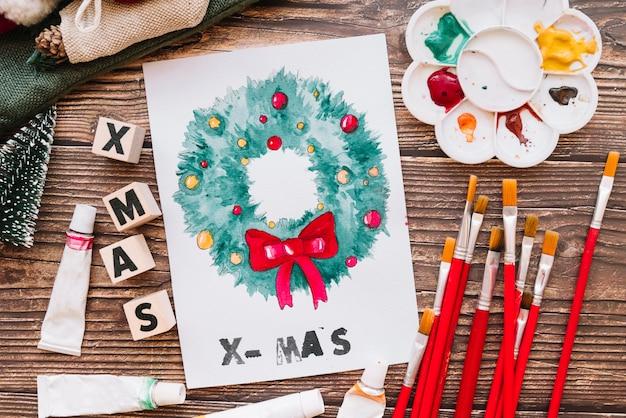 Lack und weihnachtskomposition