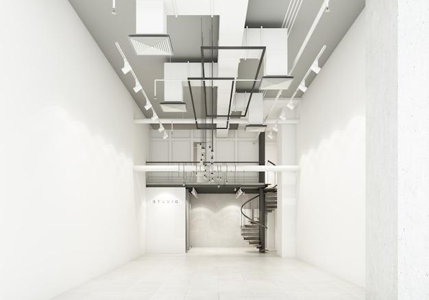 Laden sie in der warenhausanzeige emtry room wartebodendekoration mit luftkanal und systemarbeit 3d-rendering