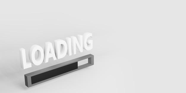 Laden von text und symbolen auf einer einfachen 3d-darstellung des hintergrunds