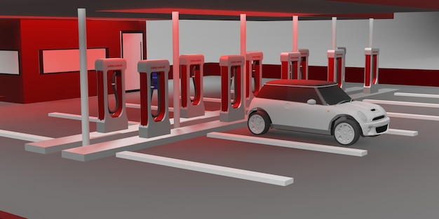 Ladestation elektroautobatterie neues energietechnologiekonzept 3d-darstellung