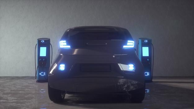 Ladestation für elektroautos. 3d-rendering.