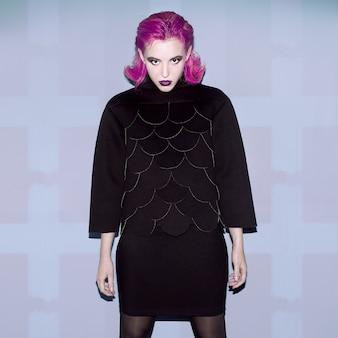 Lady gothic purple hair style fashion art