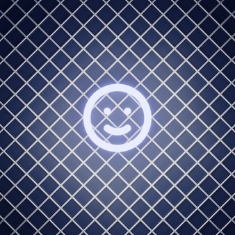 Lächeln emoticon zeichen neon-effekt rendern