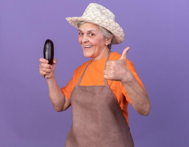 Lächelnde ältere gärtnerin mit gartenhut hält auberginen und daumen hoch isoliert auf lila wand mit kopierraum