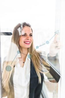 Lächelnde junge geschäftsfrau, die finger auf zunehmendes diagramm auf transparentem glas zeigt