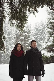 Lächelnde paare, die hände halten, während sie im winter im wald stehen