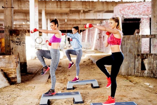 Lächelnde sportliche frauen, die außerhalb der stadt aerobic machen.