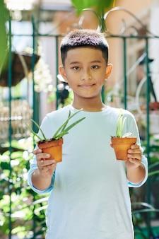 Lächelnder asiatischer junge, der im hinterhof steht und topf mit pflanzen zeigt, die er wächst
