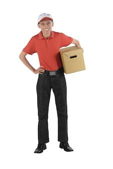 Lächelnder asiatischer mann der lieferung, der ein paket hält