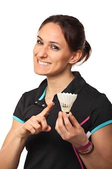 Lächelnder badmintonspieler