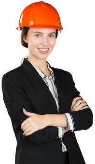 Lächelnder geschäftsfrauingenieur