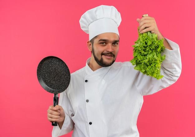 Lächelnder junger männlicher koch in der kochuniform, die bratpfanne und salat lokalisiert auf rosa raum hält