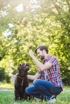 Lächelnder junger mann, der mit seinem hund im park spielt